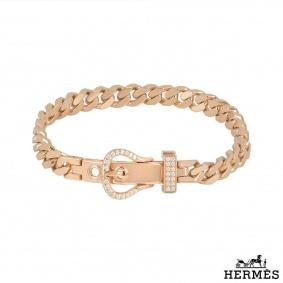 Hermes Rose Gold Diamond Boucle Sellier Bracelet